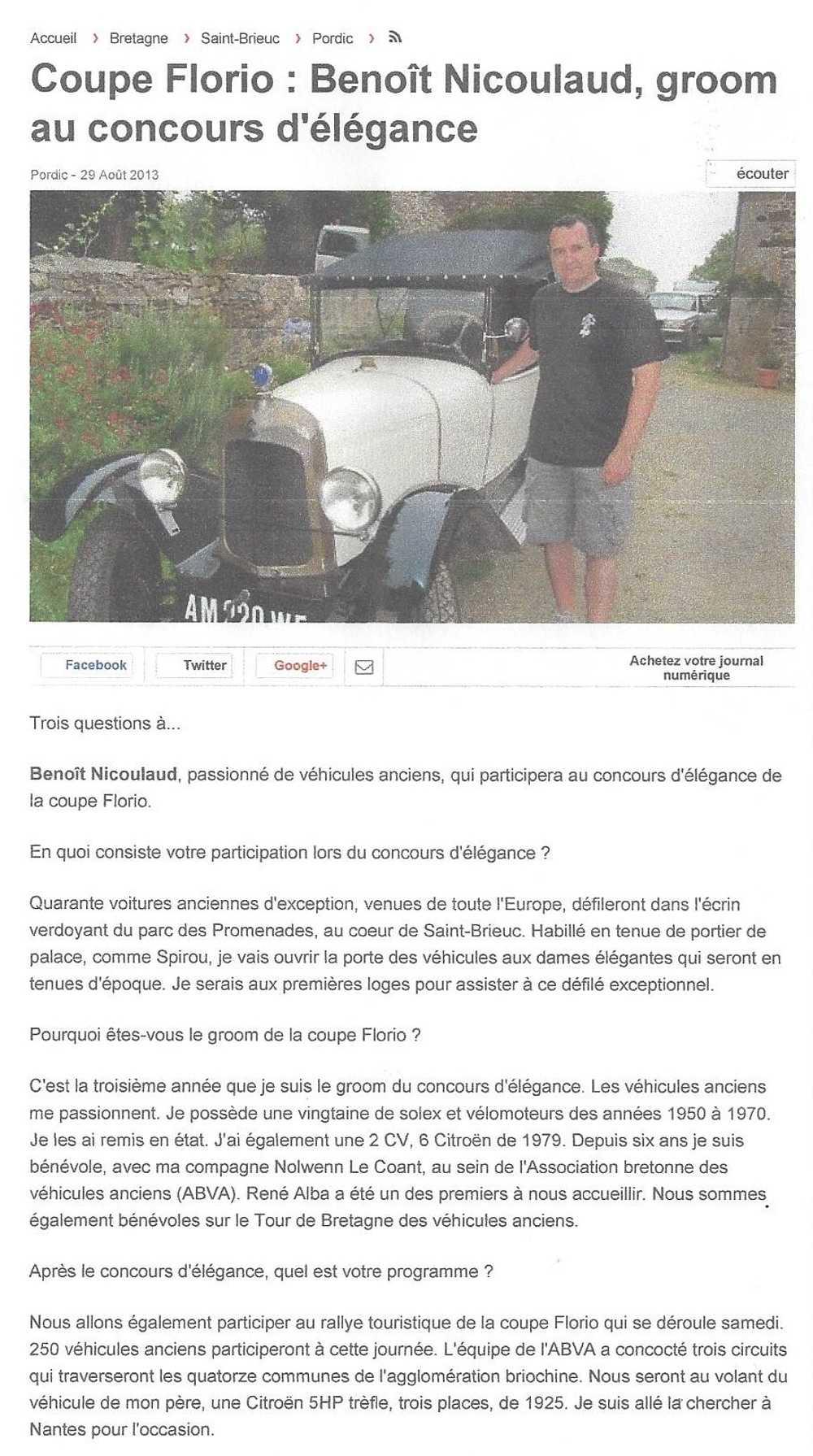 Portrait de Benoit Nicoulaud : groom/voiturier au concours de la Coupe Florio 0